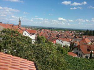 Blick vom Balkon der Ferienwohnung in Richtung Rheinebene